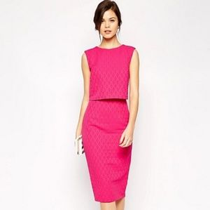 {ASOS} Hot Pink Pencil Dress with Shell Top